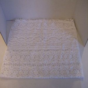 White Lace Long Scarf Sz 19 x 76 NWNT Made in USA